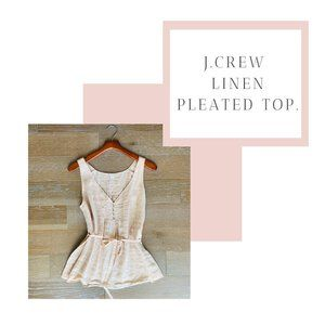 J.Crew Linen Pleated Top with Tie | Pink